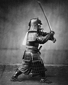 Samurai with sword, ca. 1860.
