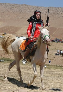 A Persian sharpshooter on horseback; not meant to represent Sayeed's mother -- who is obviously more fully bedecked in battle gear -- but an approximation nonetheless.