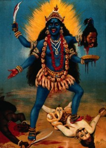 Kali trampling Shiva, Chromolithograph, by R. Varma: '...as from a face immense / with murder; swelled malevolence; / bloated, blue-skinned Kali among  / the Hindu's devilry...'