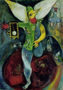 The Juggler, by Marc Chagall, 1943: 'Remember my dream!… / …my neighbours flipped / some switch atop their spine, expanded / some wings, and each… / ascended skyward…'